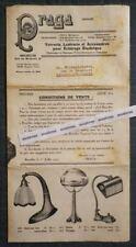 Rare Dépliant Pub affiche PRAGA 1925-1926 VERRERIE LUSTRERIE Bruxelles Globes