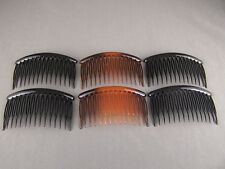 "set pack 6 Black Tortoise Brown plastic 3.25"" long hair accessory side clip comb"