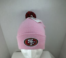 San Francisco 49ers Pink NFL winter hat Knit Beanie with Pom Top/ cuff New
