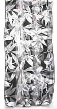 SCARF Gray Black White & Very Pale Mint Green Floral FLOWER GARDEN