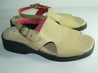 WOMENS TAN CAMEL BONE LEATHER SLINGBACK SANDALS COMFORT HEELS SHOES SIZE 7.5 M