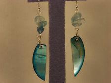 Genuine Aquamarine, Enhanced Blue shell sterling silver earrings