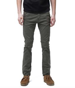 NUDIE 'Slim Adam - Bunker' Khaki Green Chinos Jeans Trousers RRP: £135.00
