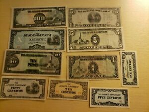🇵🇭 Japanese Occupied Philippines assortment of 10 old WWII Banknotes 051221-11