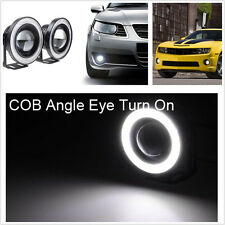 "Universal White 2.5"" Projector COB LED Car Fog Light Halo Angel Eyes Rings DRL"