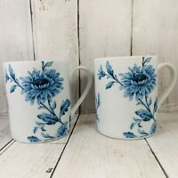 Spode Home Vintage Denim 12 oz. Coffee Cup Mugs White Blue Floral Set Of Two