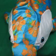 BIG BLUE WHITE DOLPHIN AWESOME FLOWER PRINT PLUSH STUFFED ANIMAL TOY