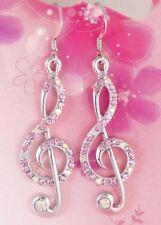 #E520B 5.5cm Long PIERCED EARRINGS HOOK Treble Clef Music Note Pink AB Crystal