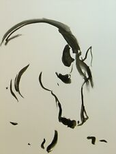 Jose Trujillo Original 18x24 Ink Wash Minimalist Horse Abstract Painting