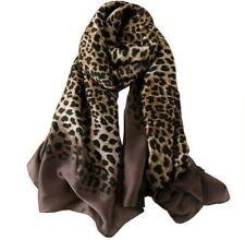 Silk Scarf Leopard Printed Luxury Ladies Fashion Classic Shawl Brown Black Long