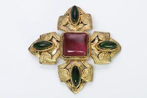 CHANEL 1970's Gripoix Glass Byzantine Style Cross Brooch Pendant
