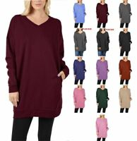 Solid BRUSHED INNER Fleece Warm Comfy OVERSIZED V-NECK SWEATSHIRTS  S/M ~ 3X