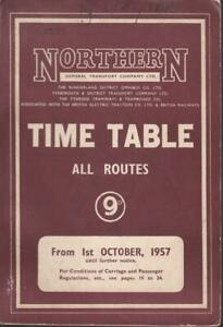 NORTHERN GENERAL BUS TIMETABLE BOOK OCT 1957 WITH ROUTE MAP