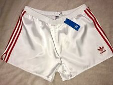 White Adidas Nylon Satin Soccer Shorts Red Stripes Mens Silky Shiny Hot!