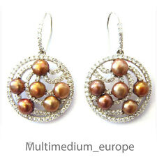 925er Sterling Silber Ohrringe bronze Zucht Perle Strass silver earrings pearl