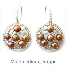 925er Sterling Silber Ohrringe bronze Zucht Perle Strass silver earrings pearl