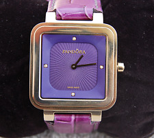 Genuine Pandora Watch Grand Cushion with 4 Diamonds, Purple Leather , 812032PE