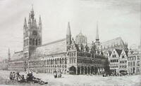 ORIGINAL ETCHING PRINT - Belgium Ypres Town or Cloth Hall