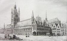 ORIGINAL ETCHING PRINT - Belgium Ypres Town or Cloth Hall