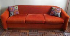 """90"""" Marden Couch Velour Deco Mid Century Modern 1970s Wrap Around Walnut Plinth"""