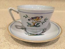 Spode Fine Stone Queen's Bird (Y4973) Footed Tea Cup w/ Saucer