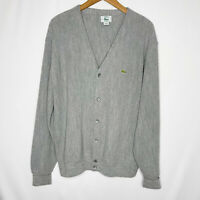 Vtg Izod Lacoste Mens Gray Cardigan Sweater 80's Made In USA Size XL Grandpa
