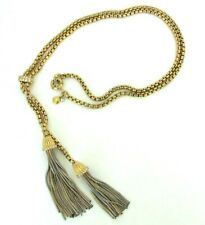 A  CHAIN TASSEL J CREW STATEMENT NECKLACE WITH RHINESTONES 35""