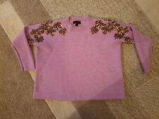 Women's J Crew XXS 100% Merino Wool Lavender Jumper Rose Gold Sequin Detail