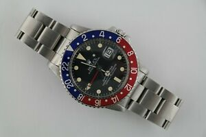 """Vintage Rolex GMT-Master 1675 """"Pepsi"""" Black Dial Oyster Band 40mm Circa 1978"""