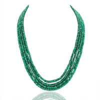 FACETED 342.00 CTS NATURAL 4 STRAND GREEN EMERALD ROUND BEADS NECKLACE (RS)