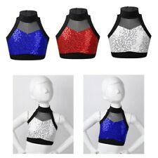 Kid Girl Dance Tanks Sports T-shirt Tops Shiny Sequins Crop Top Mesh Splice Vest