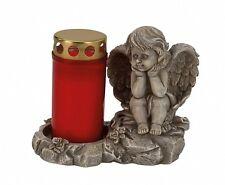 Engel sitzend auf Stein Kerze 14,5 cm Grabschmuck Grabdeko Grabstein Gedenkstein