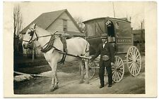 RPPC NY Dayton Horse Drawn Delivery Wagon Jewel Tea Co Cattaragus County