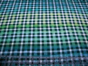 3 Yards Cotton Fabric - Northcott Banyan Batik Kilts & Quilts Plaid Blue Green