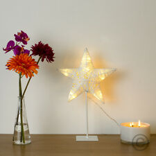 Modern Battery Operated White LED Paper Twine Rattan Star Fairy Decoration Light