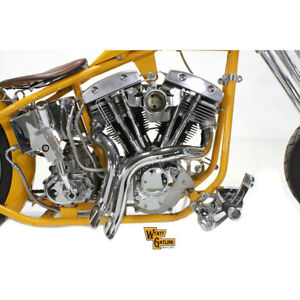 "V-Twin Chrome 2"" Down Drag Drag Pipes Exhaust for 1970-1984 Harley Shovelhead"