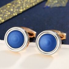 18K White & Rose Gold Plated Simulated Opal Round Shaped Hot Men`s Cufflinks