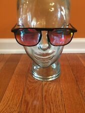 Bolle Sunglasses Vintage 80's Black Frame Orange Red Mirror Lens