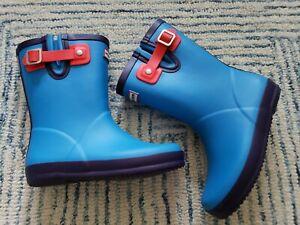 Hunter Original First Flat Sole Rain Boots Kids Blue Sz UK 11