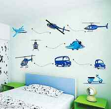 AIRCRAFT PLANE BLUE CARS PLAYROOM WALL ART STICKERS VINYL DECAL HOME DECORATION