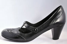 Women Ladies Mary Jane Style Court Brogue Shoes - Block Mid Heels - UK 8  EU 41