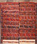 Antique Tribal Sumak Russian Oriental Hand-Knotted 5x5 Square Red Wool Area Rug