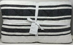 Pottery Barn Mesa Striped Handcrafted KING Quilt ~ Black / White