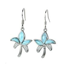 Natural Larimar And CZ Palm Tree Hook Dangle Earrings Solid 925 Sterling Silver