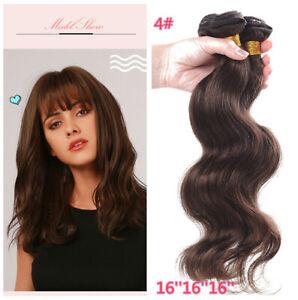 Medium Brown 4# Color Peruvian Virgin human hair 3pcs/150G Extenisons Weave Weft