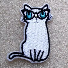 White Cat Patch with Glasses Iron Sew On Applique Kitten Pussy