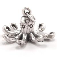OCTOPUS Charm Pendant Sea life Ocean animal 925 STERLING SILVER 5 gr 3D detailed
