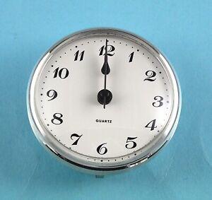 GERMAN 85mm SILVER BEZEL Quartz Clock  insert movement  White Arabic dial