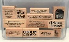 Stampin Up GRATEFUL GREETINGS Holiday Sayings Words Halloween Rubber Stamps