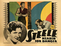 "HEADIN' FOR DANGER Original 11"" X 14"" Lobby Card - 1928 - BOB STEELE"